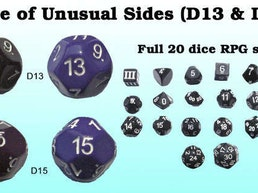 13 & 15 sided dice ( D13 & D15 ) w/ DCC & other sets