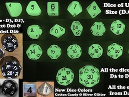 D20 / D30 RPG & DCC Dice Chain Sets -New D17, D19, D26 & D28