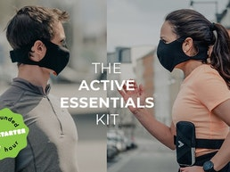 Active Essentials Kit: running armband, shopping bag & mask