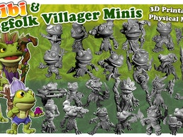 Frog Folk Villagers - 3D Printable & Physical Model + CHIBI
