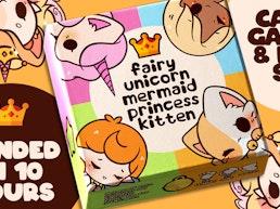 Fairy, Unicorn, Mermaid, Princess, Kitten - Card Game & Pins