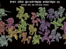 Chibi Pony Adventurers Miniatures 2 - Digital STL & Physical